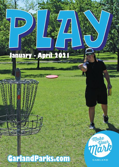 Spring Play Guide 2021 - Guy throwing disc golf at a basket in a park