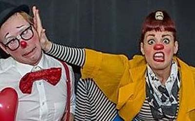 A picture of the Ramazinis, a circus clown duo