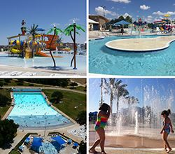 A collage of pictures of pools and aquatic features renderings for Aquatics Projects
