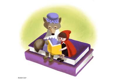 A drawing of Little Red Riding Hood and the wolf dressed as Grandma sitting on a stack of books read