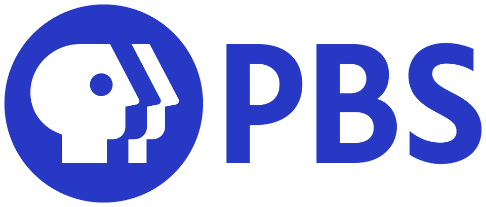 PBS blue logo on a white background