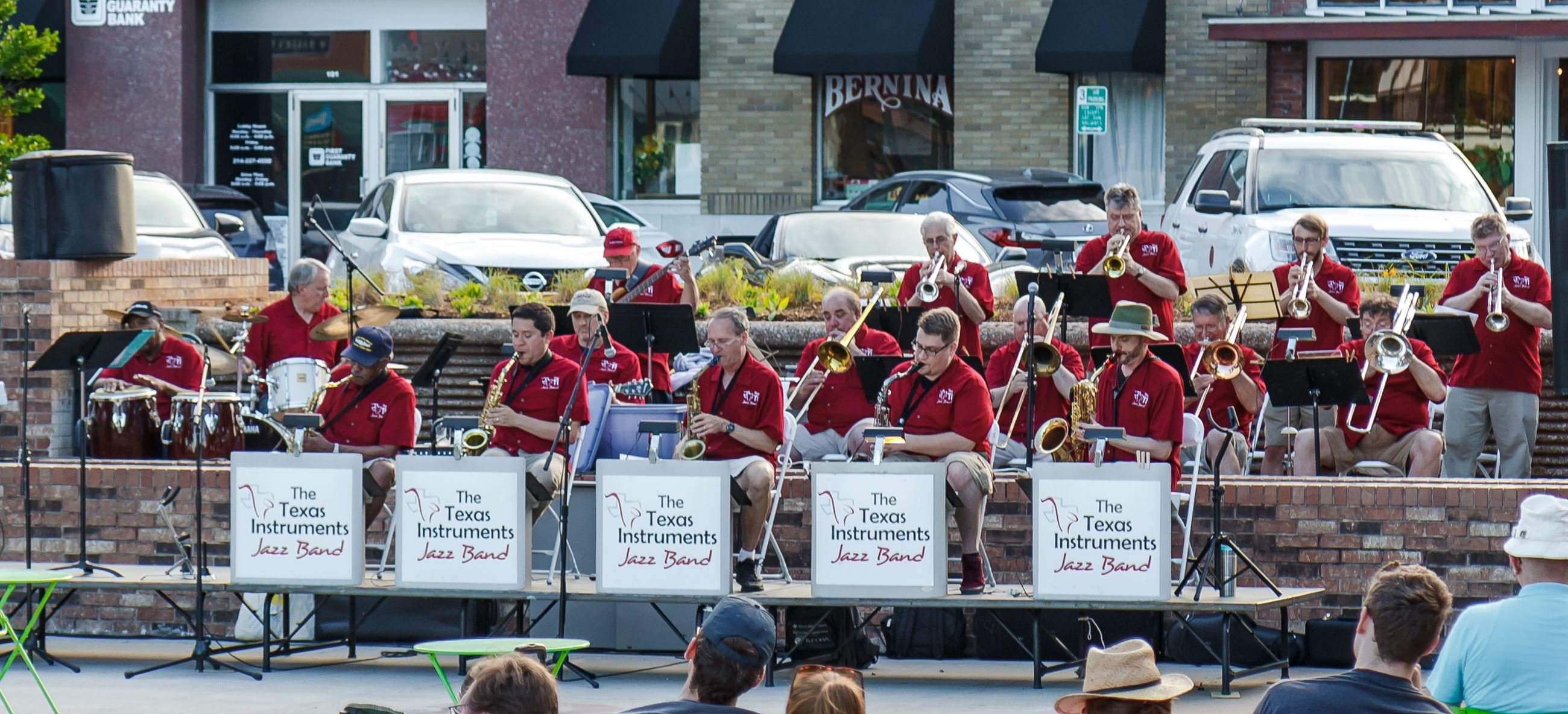 Texas Instruments Jazz Band playing instruments on the stage at the Downtown Garland Square