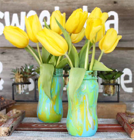 Pastel drip vases with yellow tulips